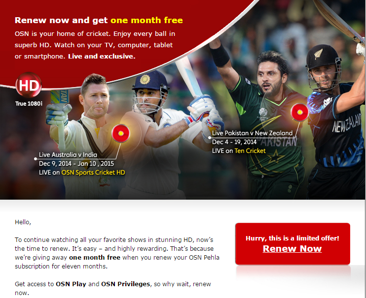 OSN :- Renew now and get one month free | Jaber Al Mas